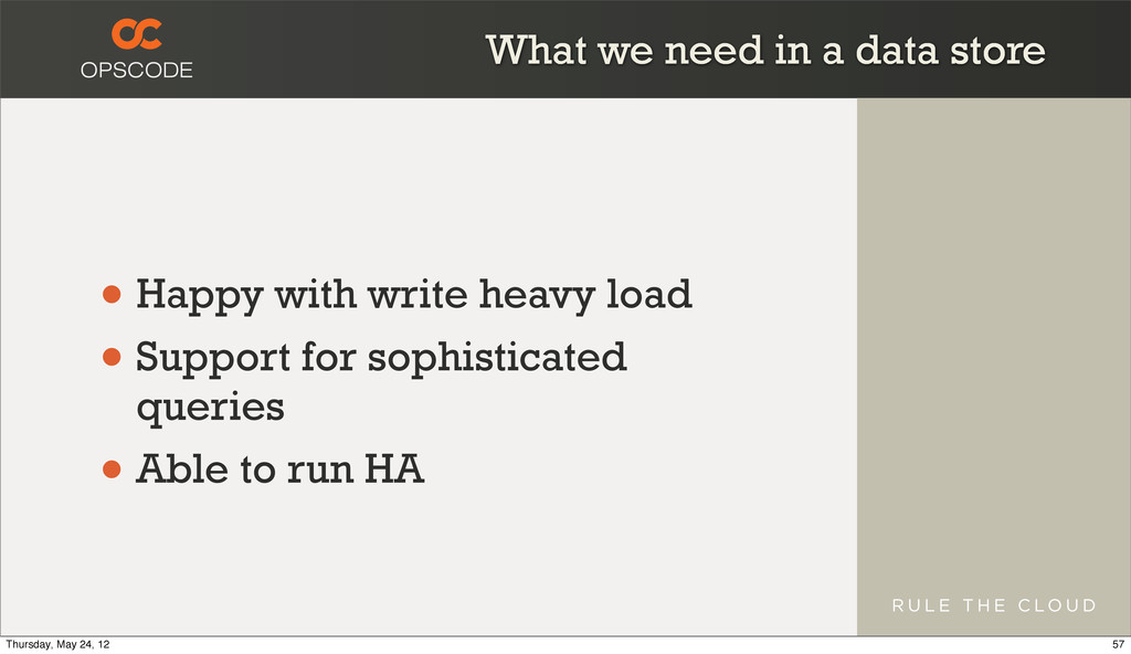What we need in a data store • Happy with write...