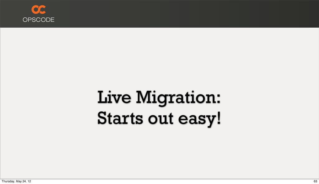 Live Migration: Starts out easy! 63 Thursday, M...