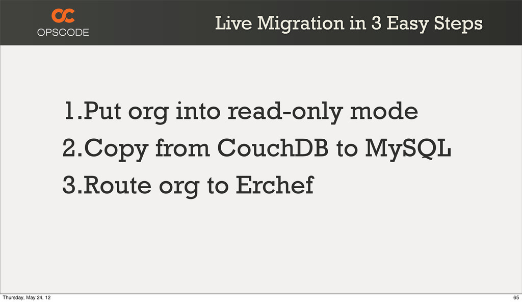 Live Migration in 3 Easy Steps 1.Put org into r...
