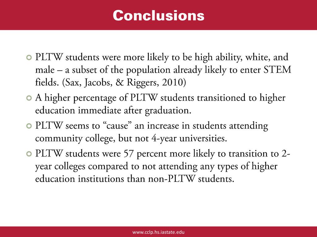 www.cclp.hs.iastate.edu Conclusions    