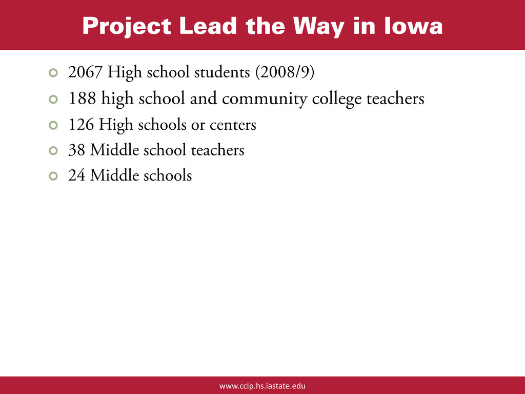 www.cclp.hs.iastate.edu Project Lead the Way in...