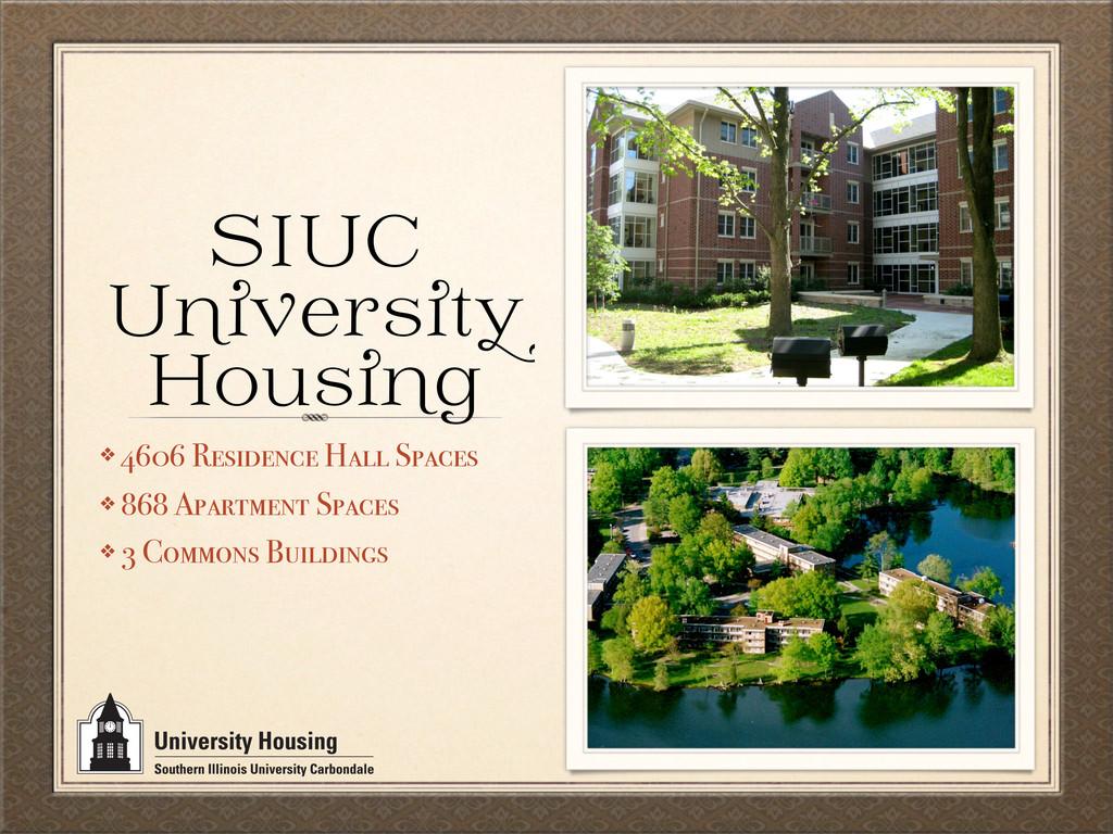 SIUC U er t Hou g ❖ 4606 Residence Hall Spaces ...