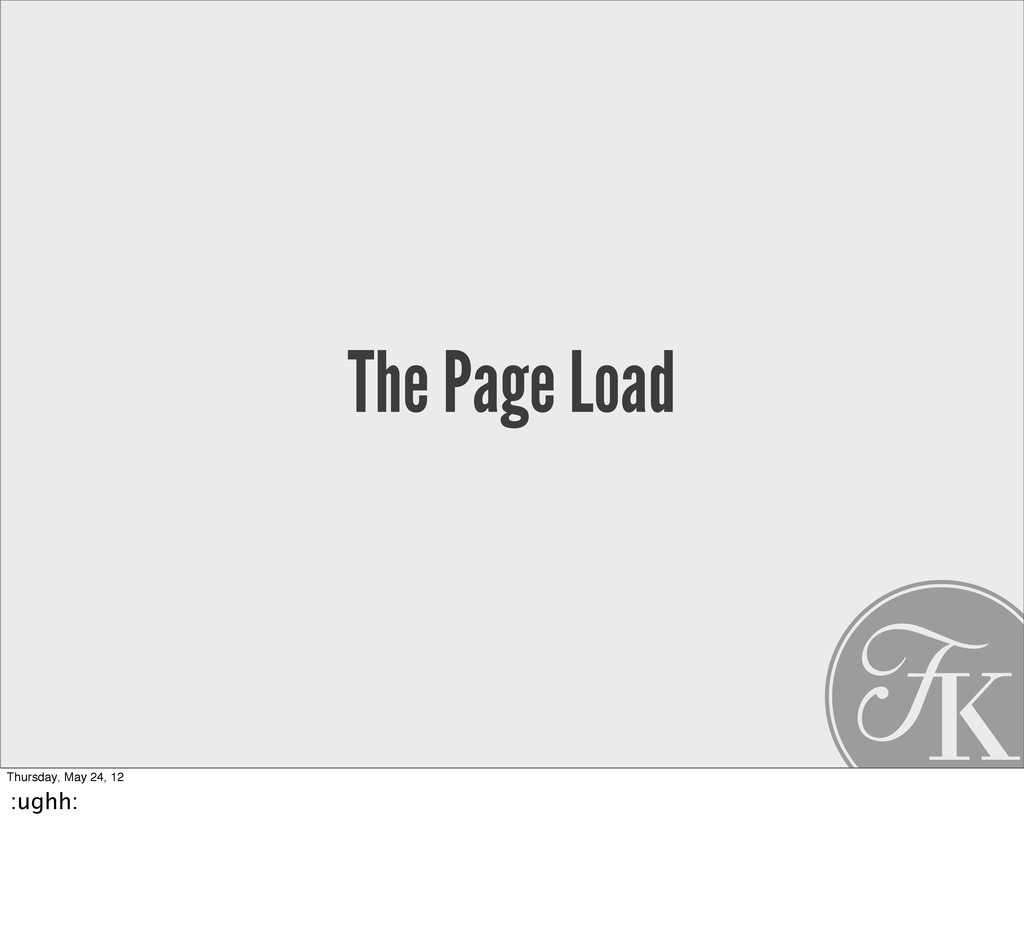 The Page Load Thursday, May 24, 12 :ughh: