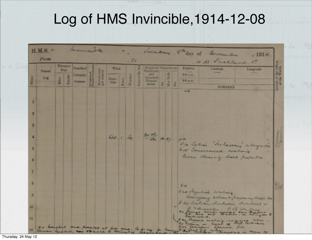 Log of HMS Invincible,1914-12-08 Thursday, 24 M...