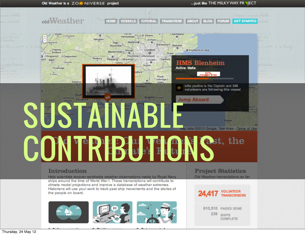 SUSTAINABLE CONTRIBUTIONS Thursday, 24 May 12