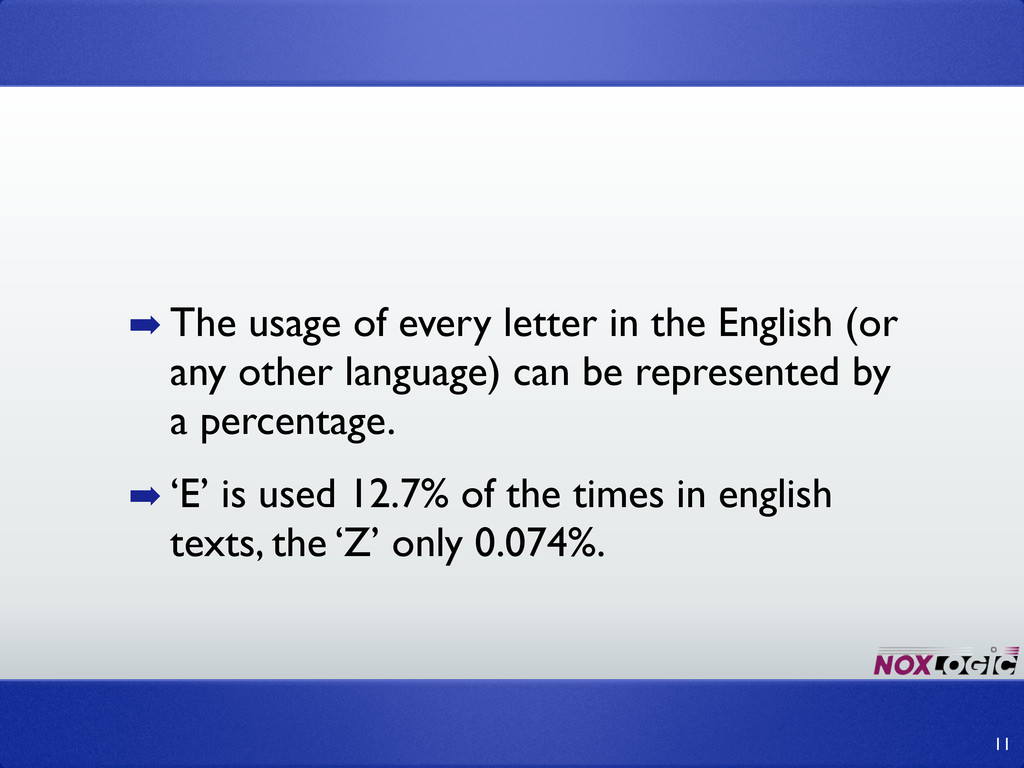 ➡ The usage of every letter in the English (or ...