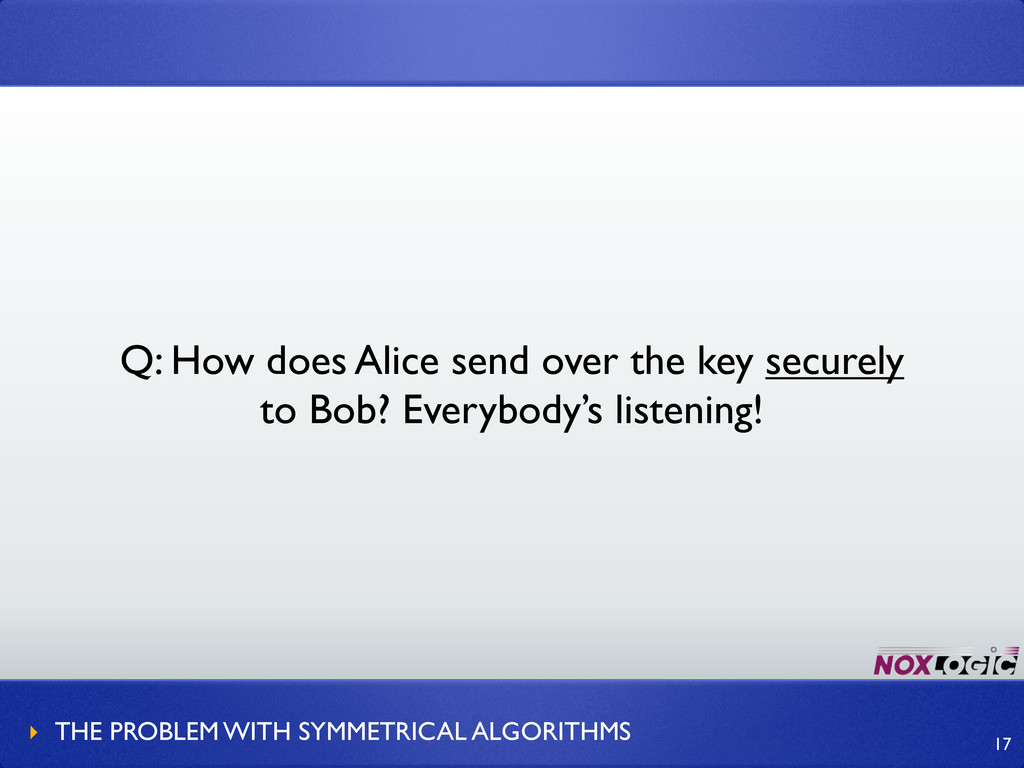 Q: How does Alice send over the key securely to...