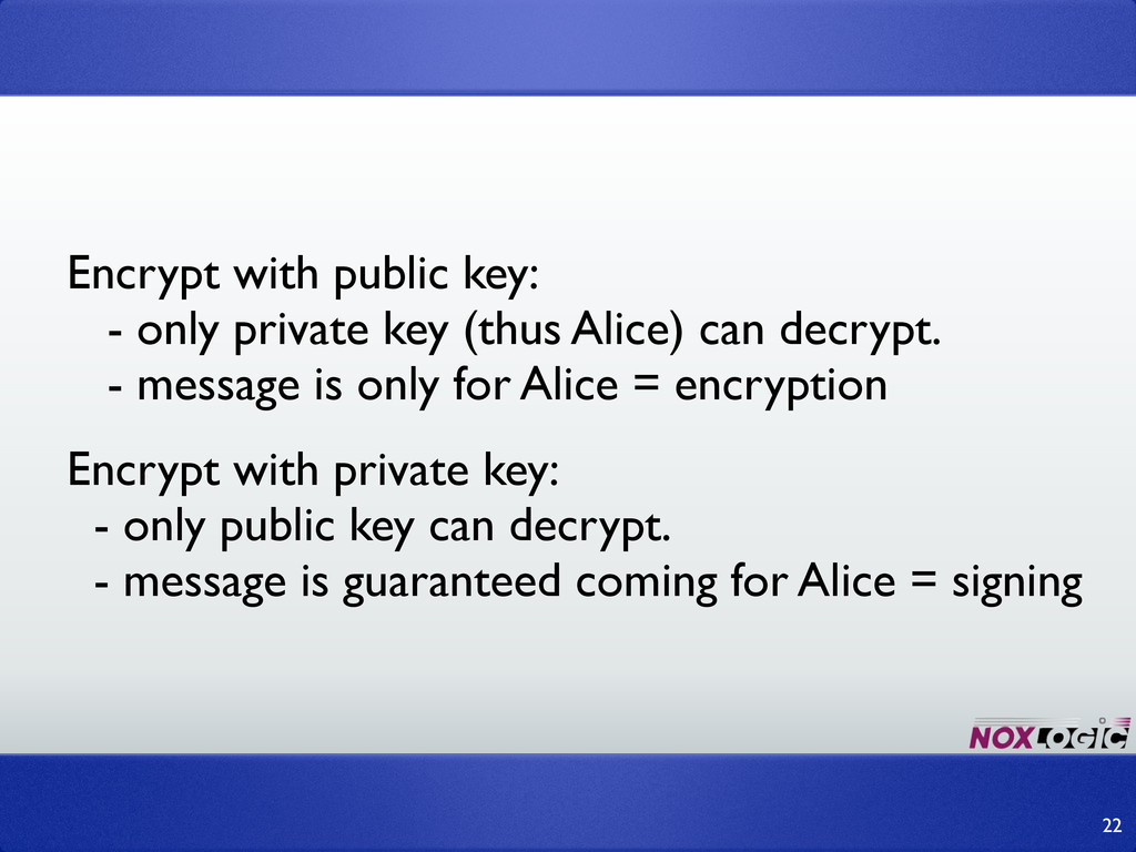 Encrypt with public key: - only private key (th...