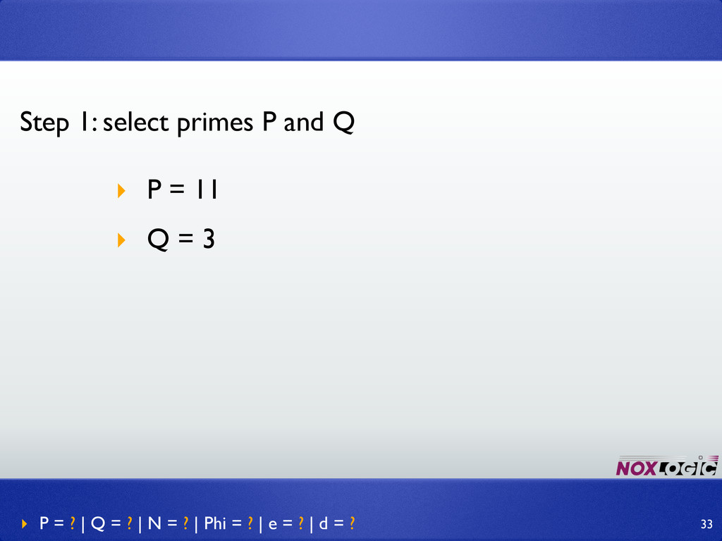 Step 1: select primes P and Q ‣ P = 11 ‣ Q = 3 ...