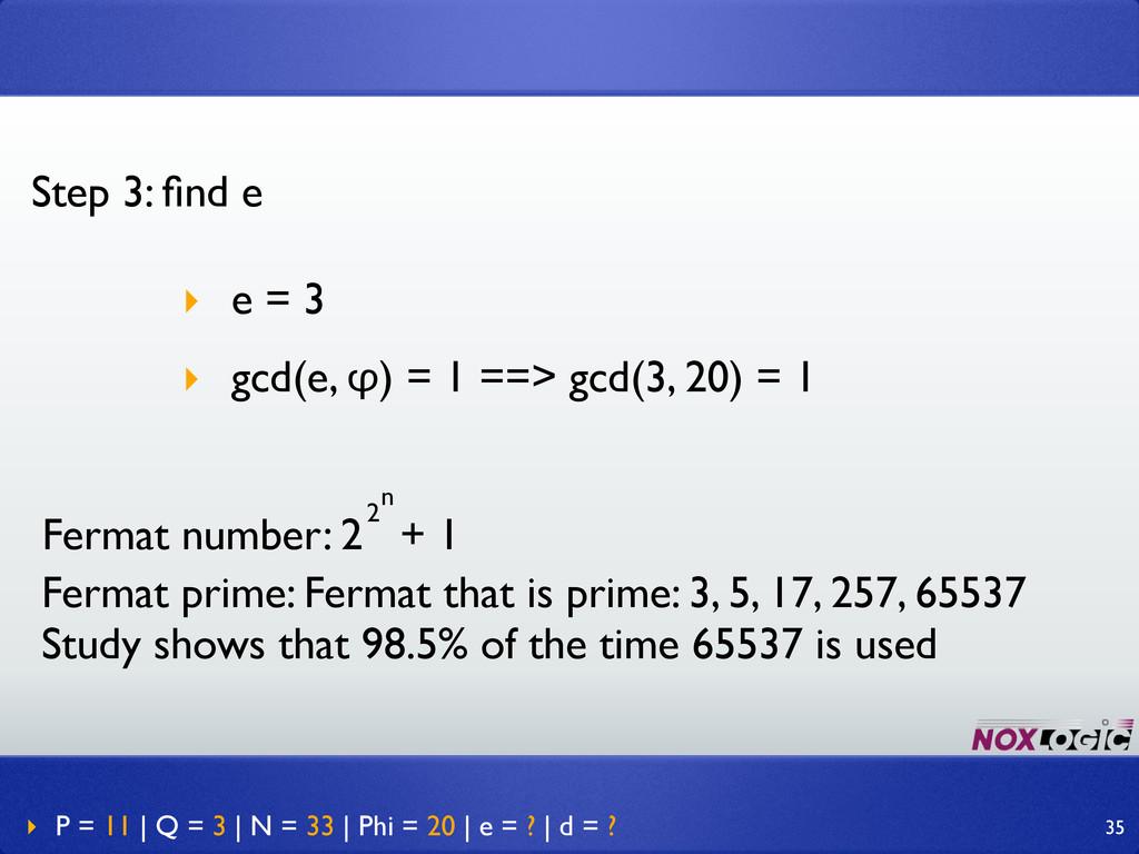 Step 3: find e ‣ e = 3 ‣ gcd(e, φ) = 1 ==> gcd(3...