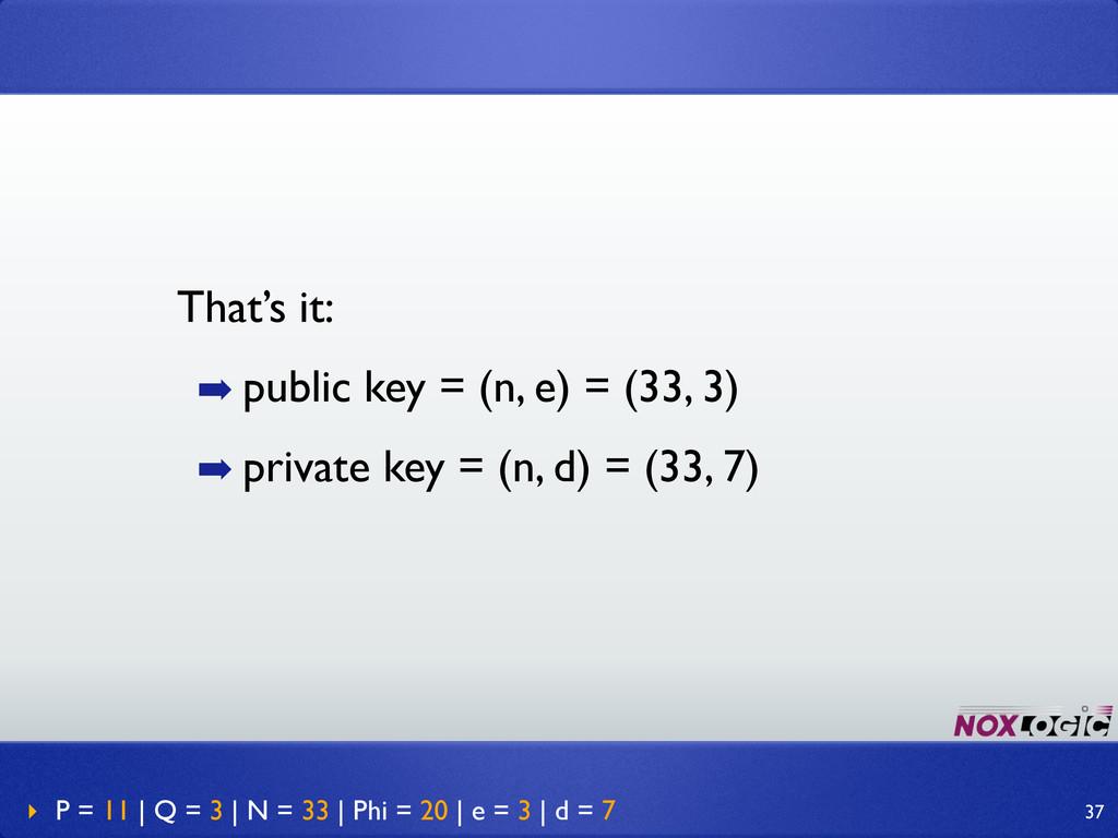 That's it: ➡ public key = (n, e) = (33, 3) ➡ pr...