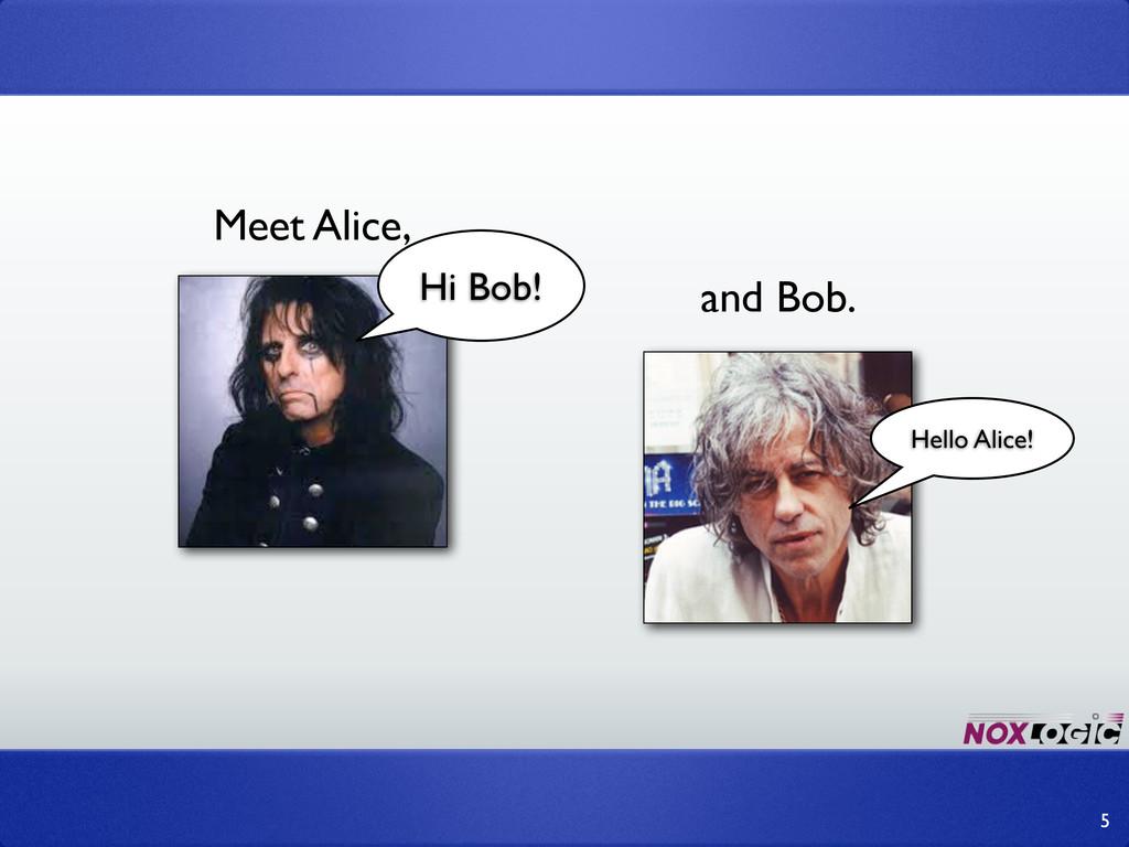 Meet Alice, and Bob. 5 Hi Bob! Hello Alice!