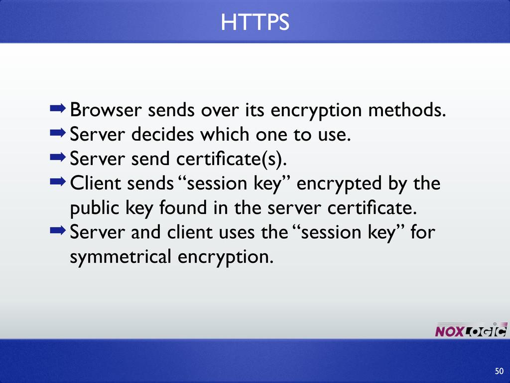 ➡Browser sends over its encryption methods. ➡Se...