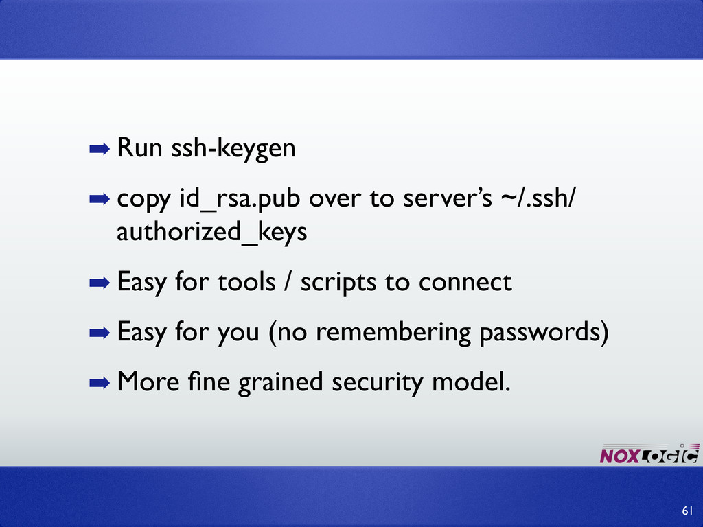 ➡ Run ssh-keygen ➡ copy id_rsa.pub over to serv...