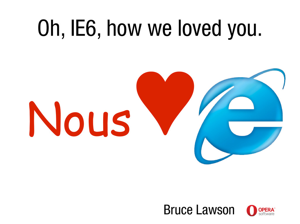 Oh, IE6, how we loved you. Nous ♥ Bruce Lawson