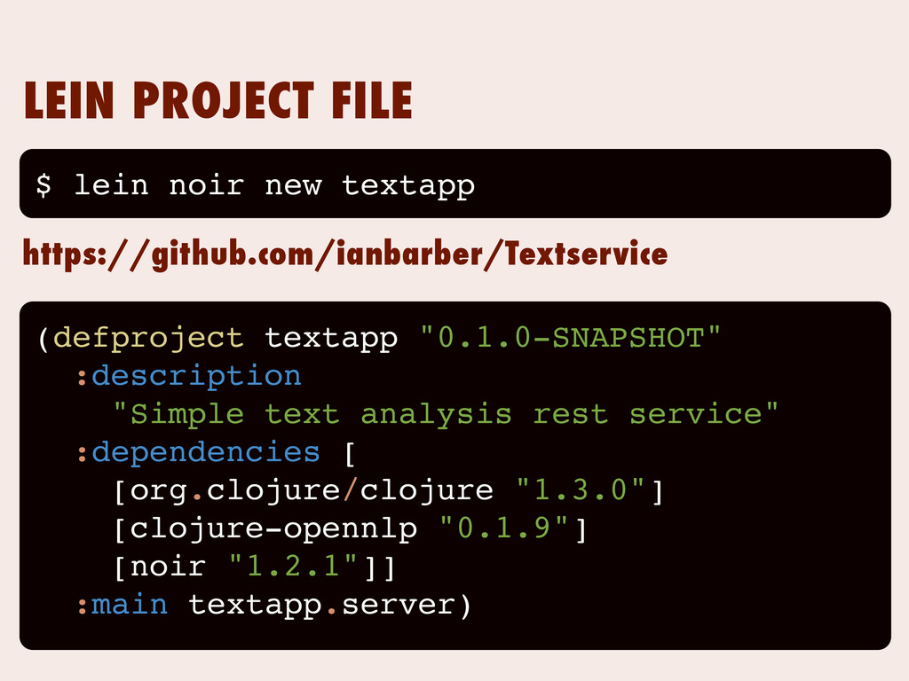 """LEIN PROJECT FILE (defproject textapp """"0.1.0-SN..."""