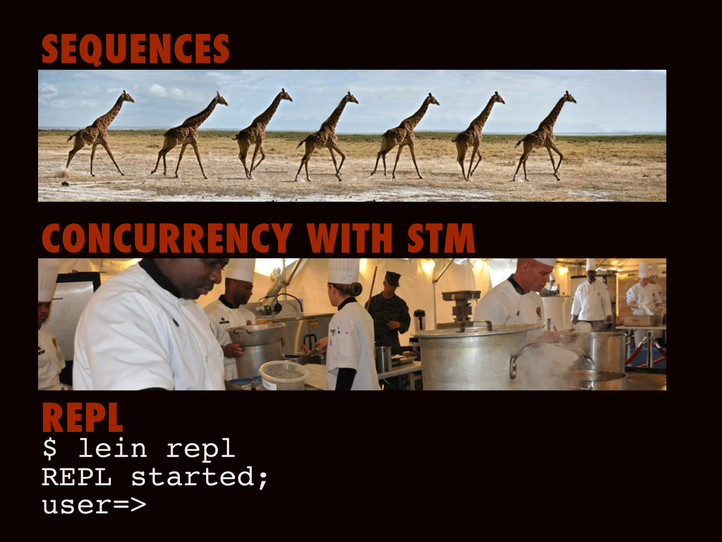 SEQUENCES CONCURRENCY WITH STM REPL $ lein repl...
