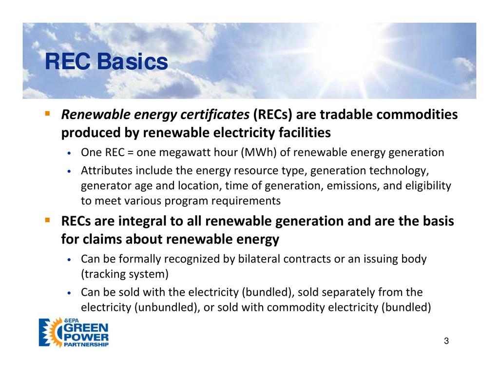 REC Basics REC Basics  Renewable energy certif...