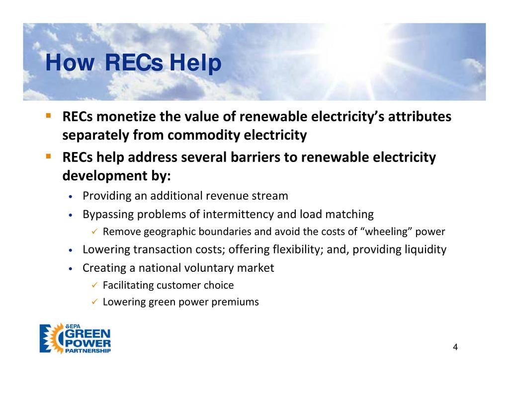 How RECs Help How RECs Help p p  RECs monetize...