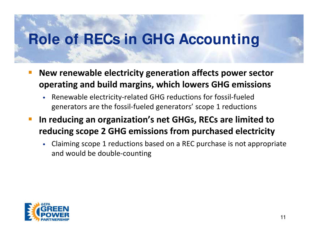 Role of RECs in GHG Accounting Role of RECs in ...