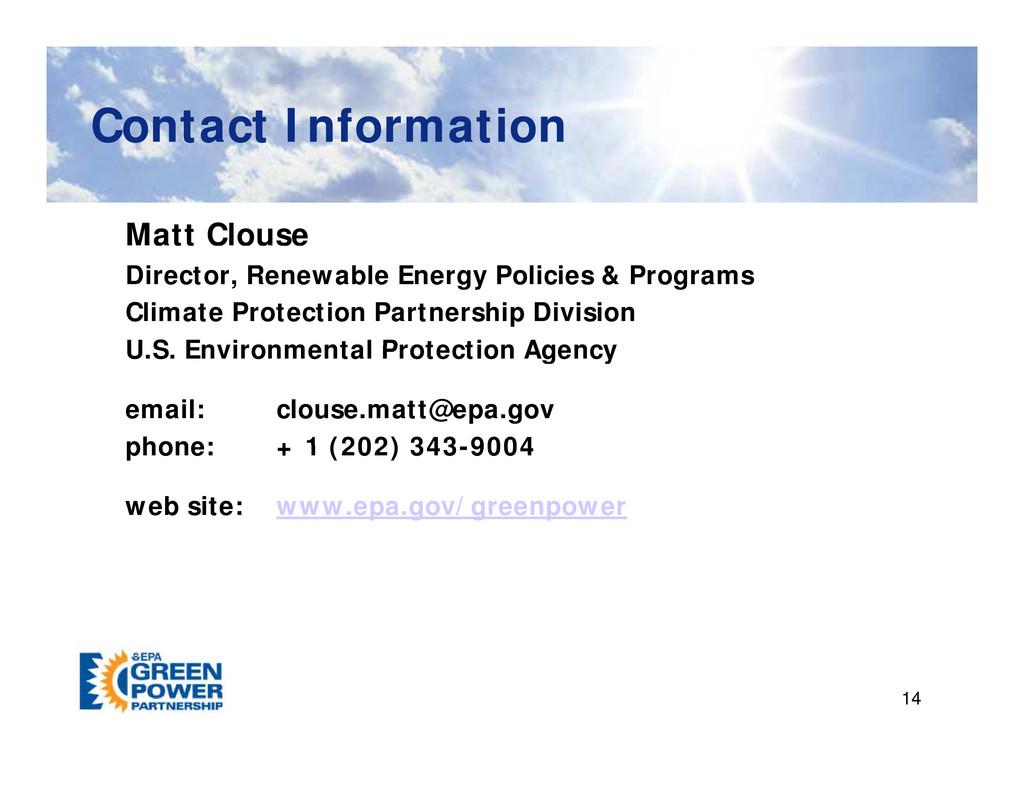 Contact Information Contact Information Matt Cl...
