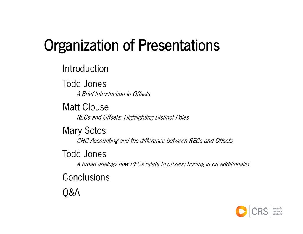 Organization of Presentations Organization of P...