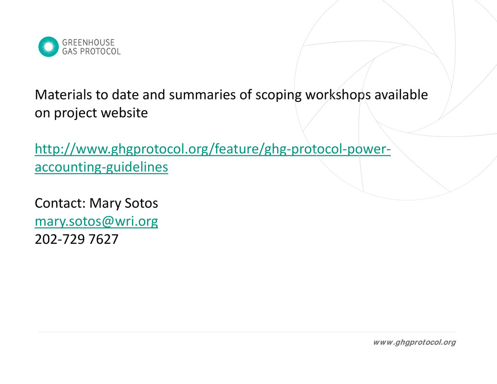 Materials to date and summaries of scoping work...