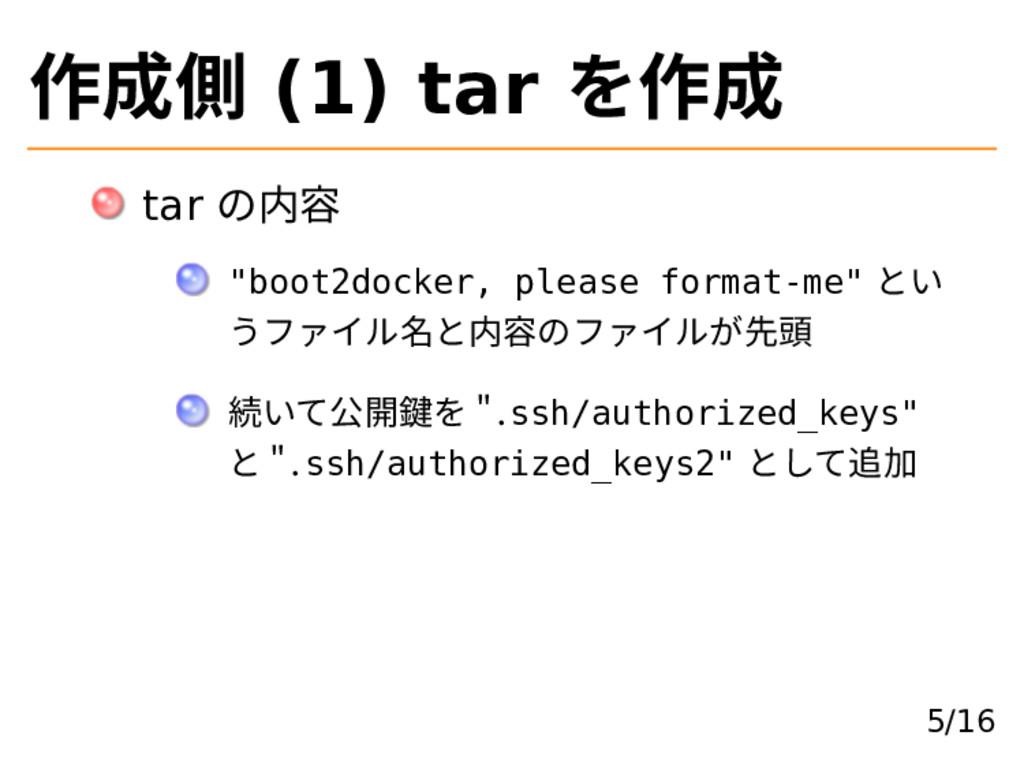 """作成側 (1) tar を作成 tar の内容 """"boot2docker, please fo..."""