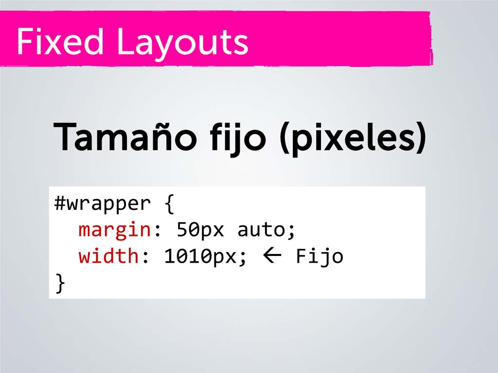 Fixed Layouts Tamaño fijo (pixeles) #wrapper { ...
