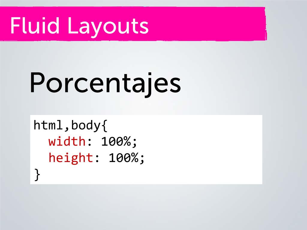 Fluid Layouts Porcentajes html,body{ width: 100...