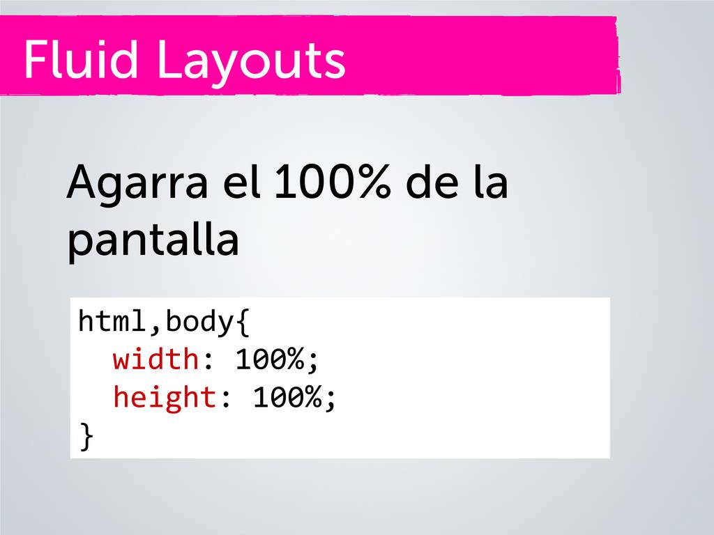 Fluid Layouts Agarra el 100% de la pantalla htm...