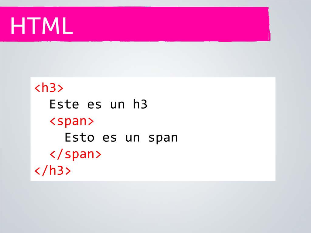 HTML <h3> Este es un h3 <span> Esto es un span ...