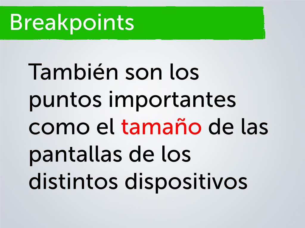 Breakpoints También son los puntos importantes ...