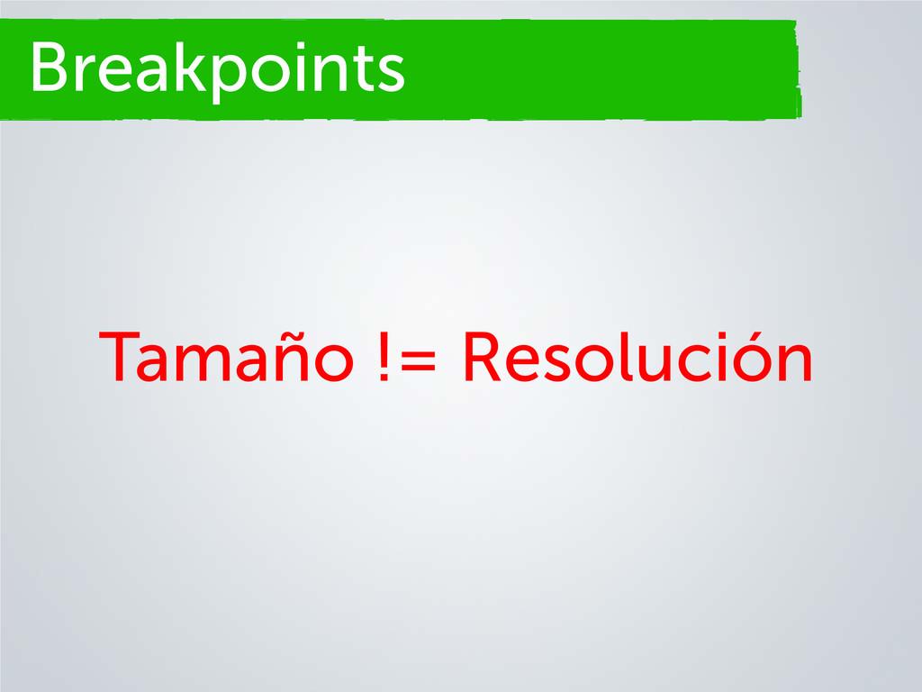 Breakpoints Tamaño != Resolución