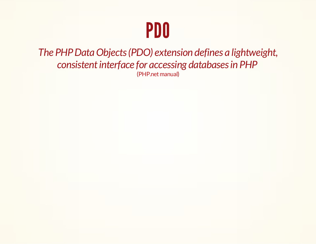 PDO The PHP Data Objects (PDO) extension define...