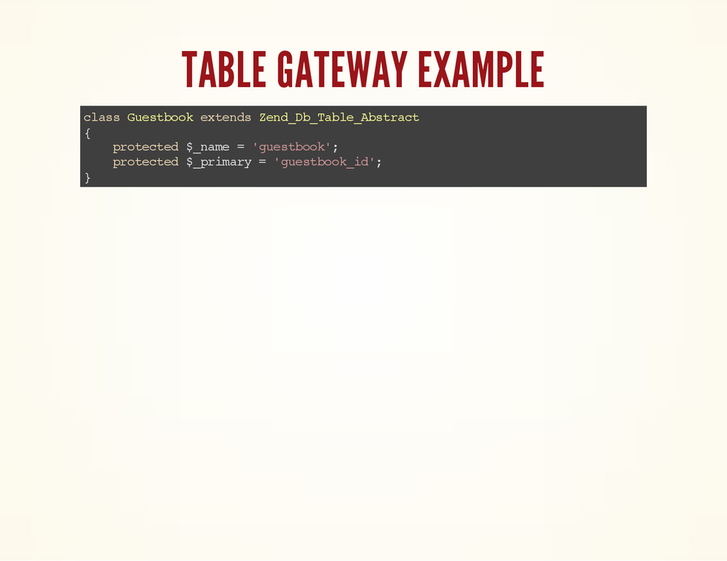 TABLE GATEWAY EXAMPLE c l a s s G u e s t b o o...