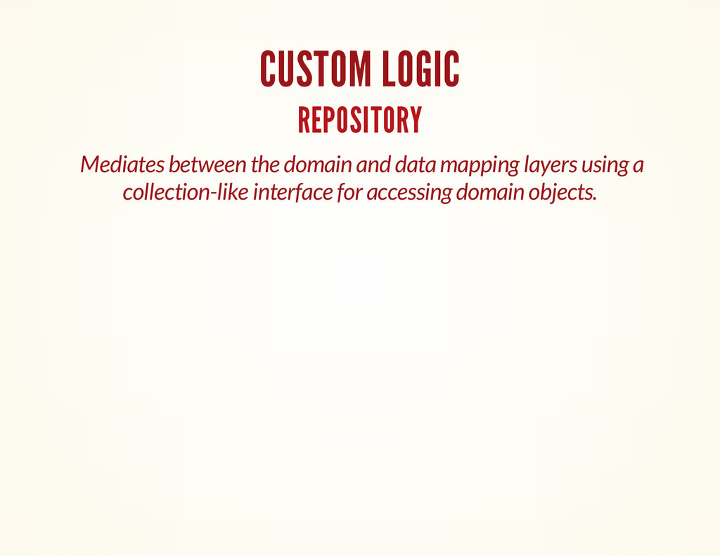 CUSTOM LOGIC REPOSITORY Mediates between the do...