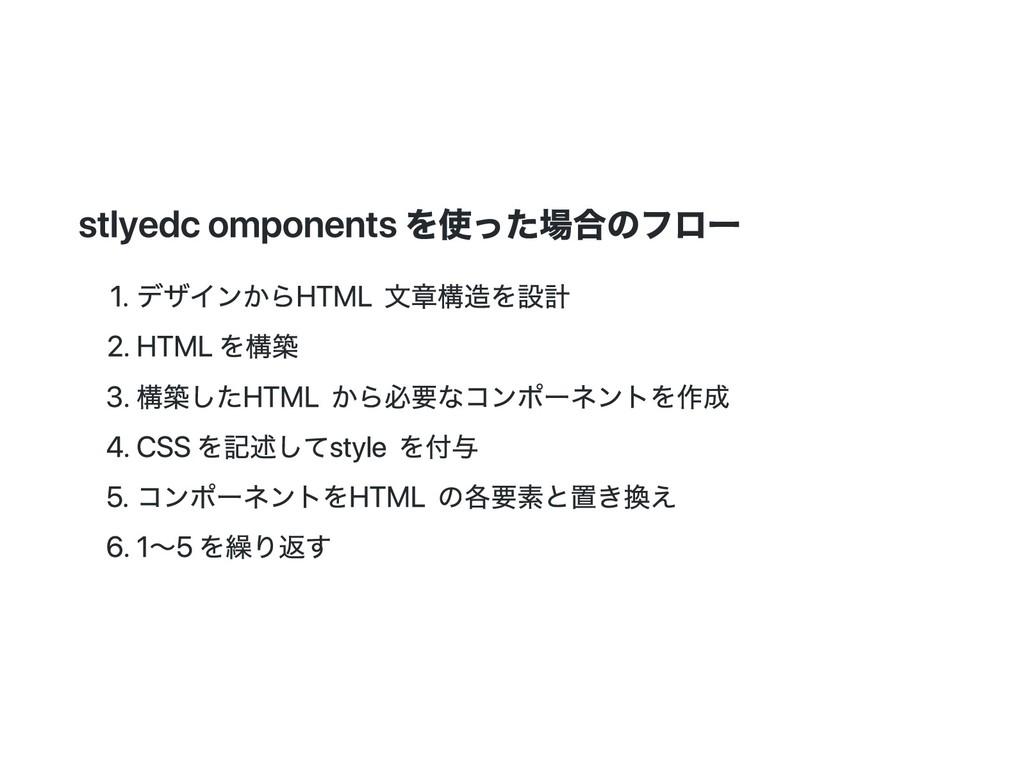 stlyed components を使った場合のフロー 1. デザインから HTML 文章構...