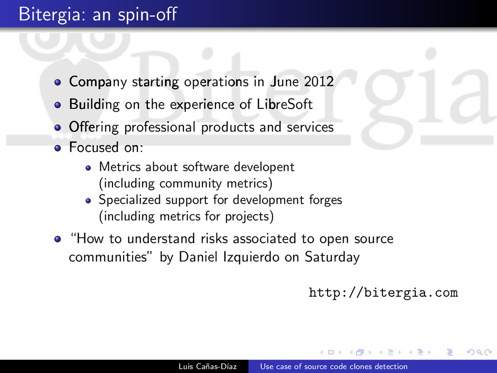 Bitergia: an spin-off Company starting operation...