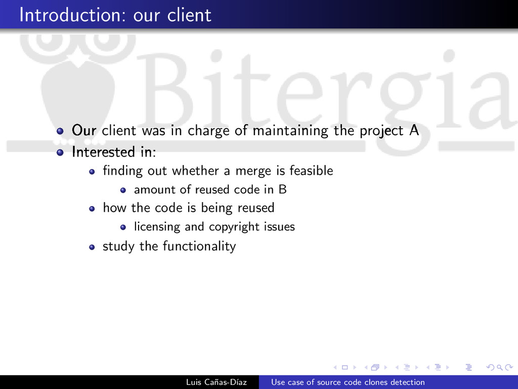 Introduction: our client Our client was in char...