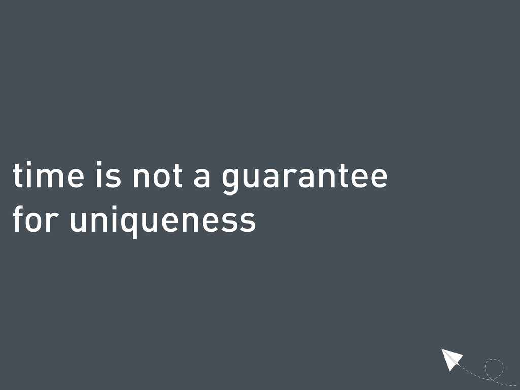 time is not a guarantee for uniqueness