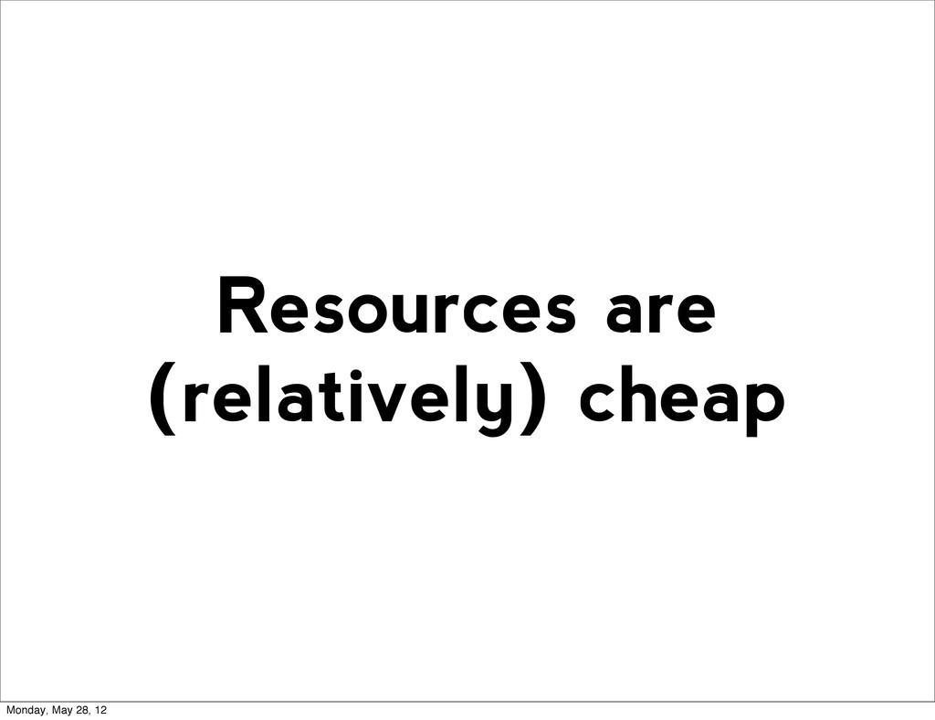 Resources are (relatively) cheap Monday, May 28...