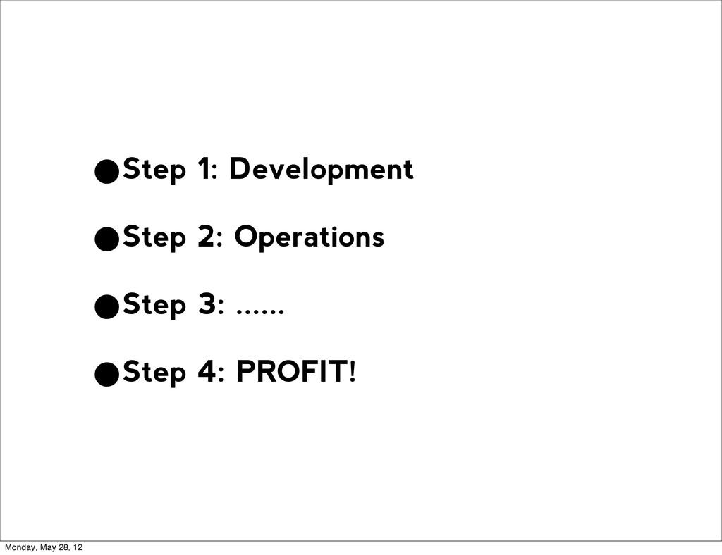 •Step 1: Development •Step 2: Operations •Step ...