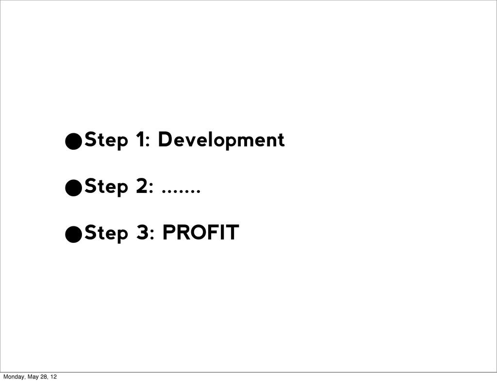 •Step 1: Development •Step 2: ....... •Step 3: ...