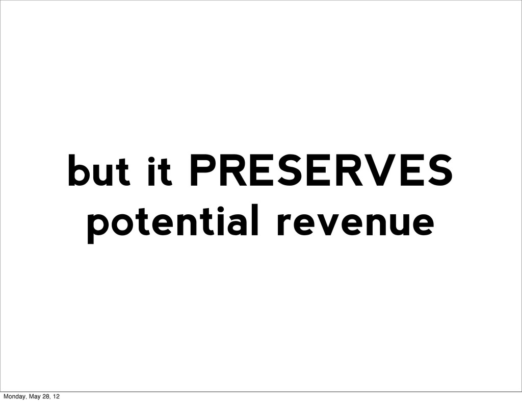 but it PRESERVES potential revenue Monday, May ...