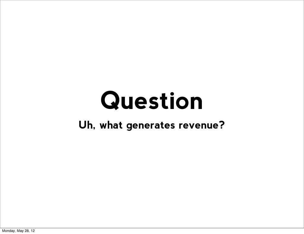 Uh, what generates revenue? Question Monday, Ma...