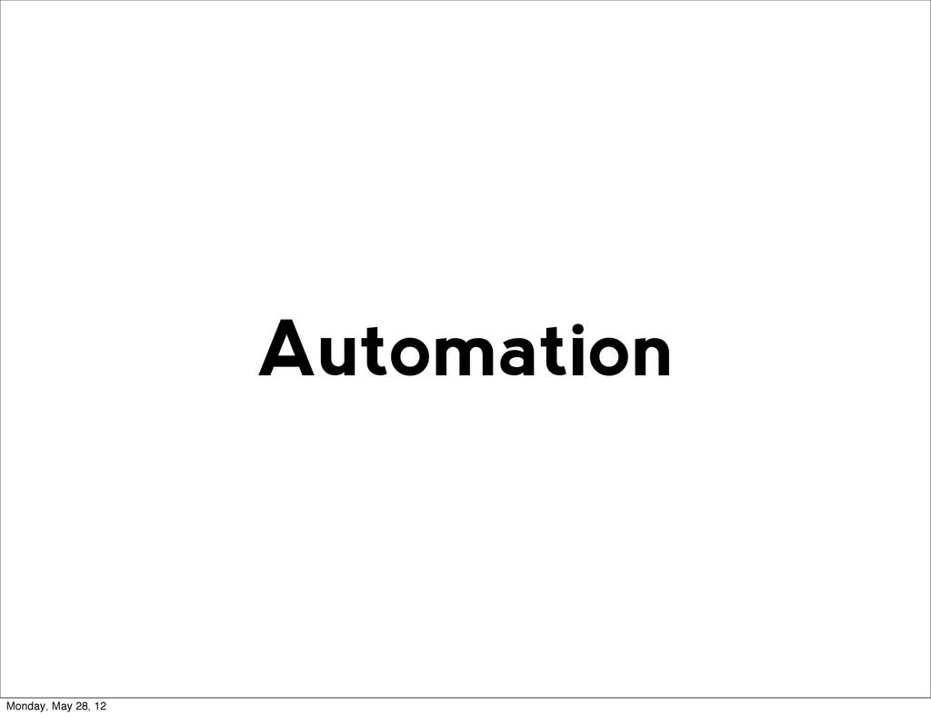 Automation Monday, May 28, 12