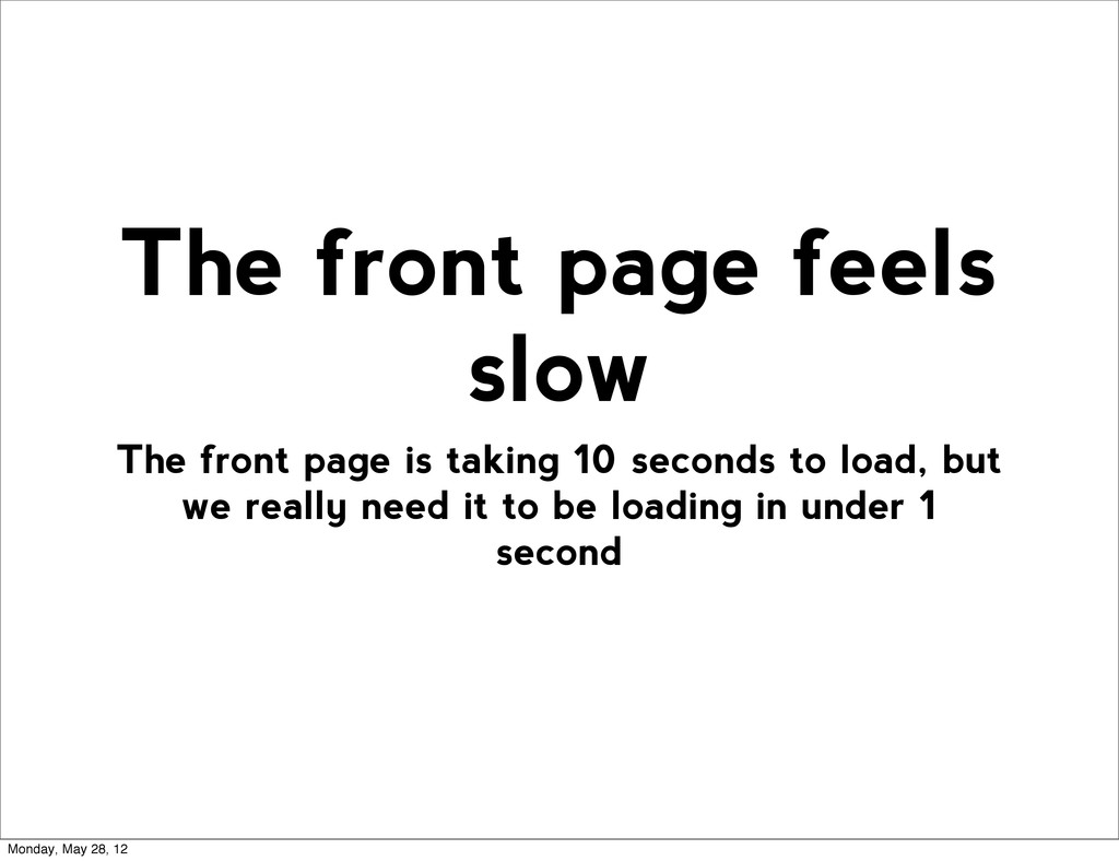The front page is taking 10 seconds to load, bu...