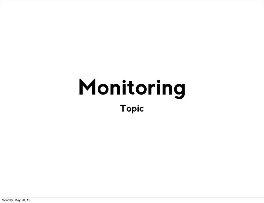 Topic Monitoring Monday, May 28, 12