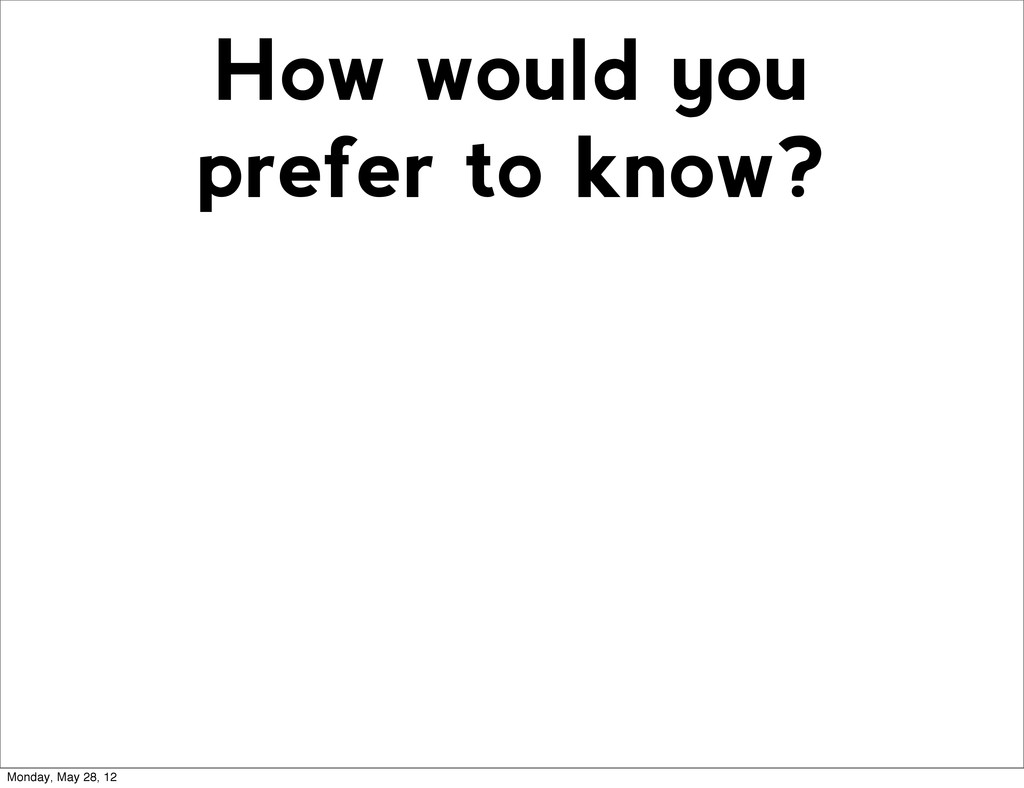 How would you prefer to know? Monday, May 28, 12